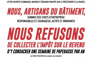 Les artisans du BTP opposés au prélèvement à la source