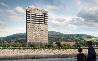 Norvège: la «tour de Mjøs», plus haut bâtiment en bois au monde - Batiweb