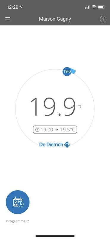 écran iphone commande thermostat connecté De Dietrich