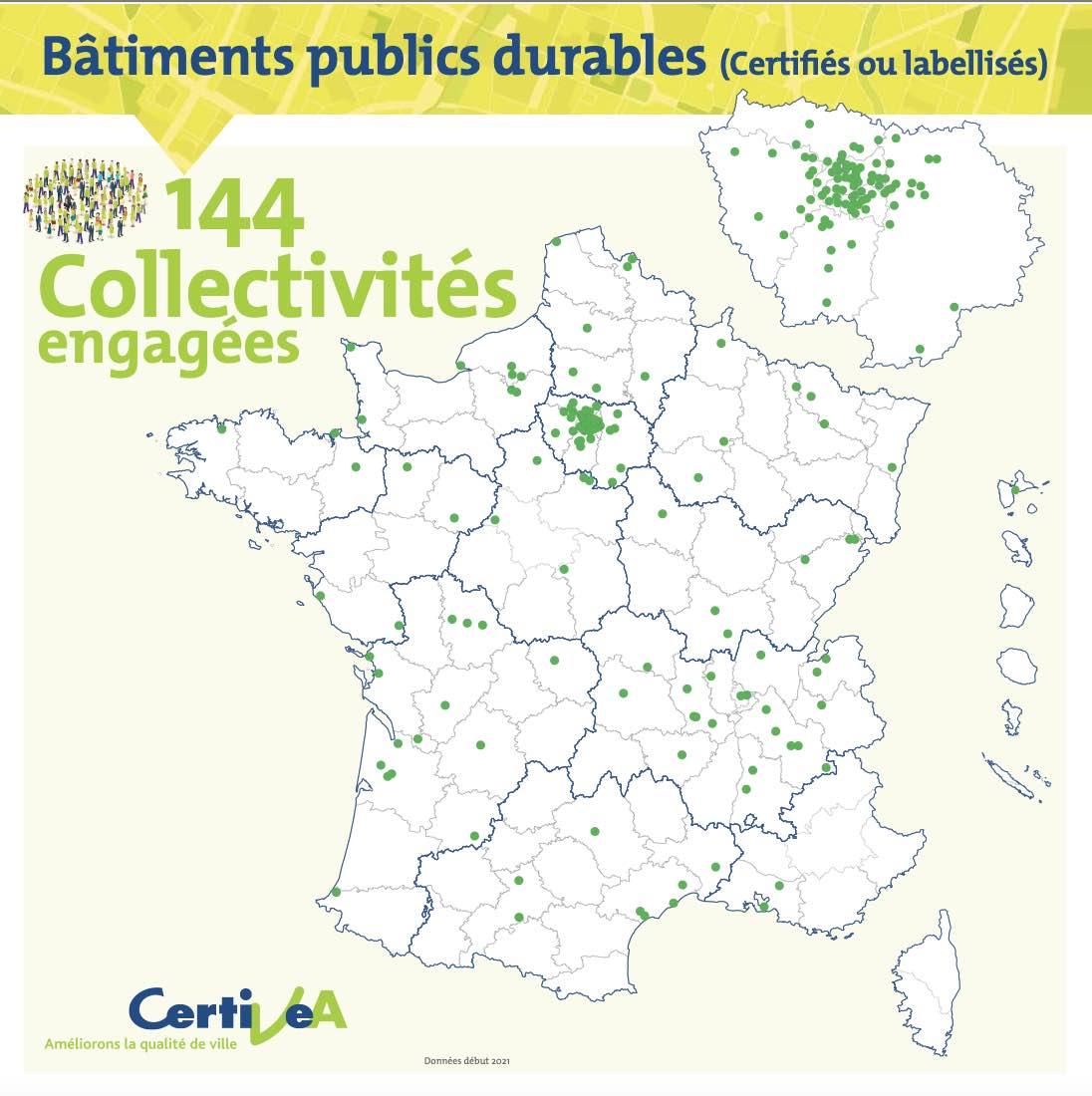 Carte des bâtiments engagés dans la démarche HQE