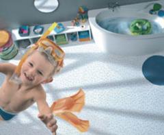 La salle de bains ludique, tonique, et pratique avec la nouvelle collection PVC Trendy de Tarkett !  - Batiweb