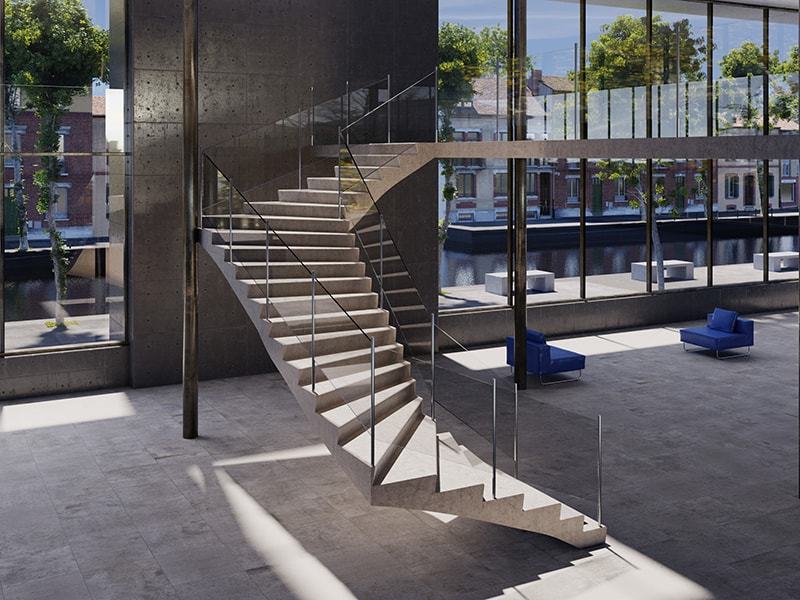 Escalier balancé à vide central