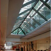 """Rideau souple de compartimentage """"Horizontal"""" des trémies d'atrium et verrières FIBERSHIELD-HC  Batiweb"""
