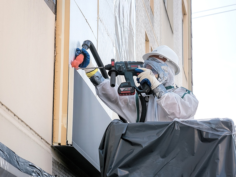 Isolation thermique des façades amiantées