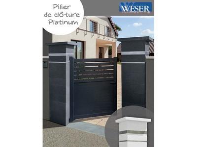 Piliers de clôture Platinum avec insert inox Weser Batiweb