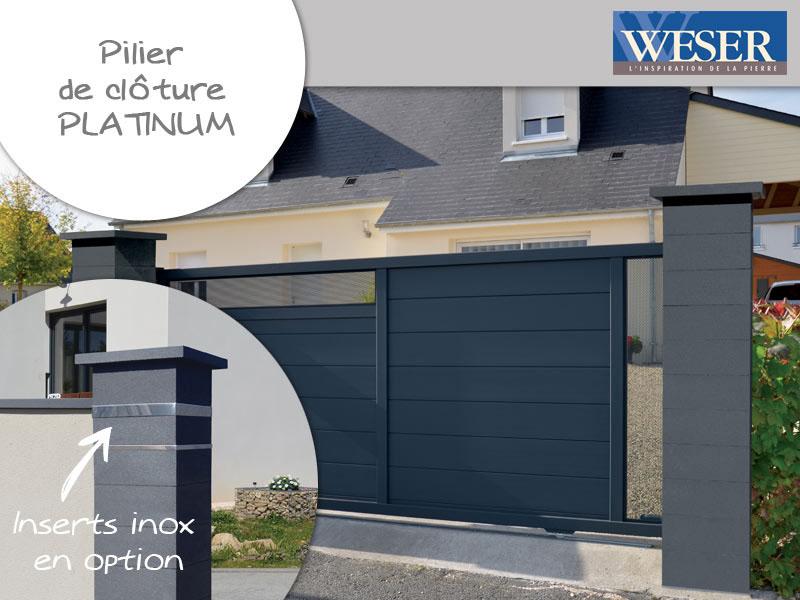 Pilier de clôture Platinum personnalisable Weser - Batiweb