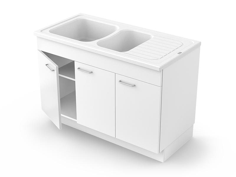 Concept meuble + évier NORMANDIE 120 mélaminé - Batiweb
