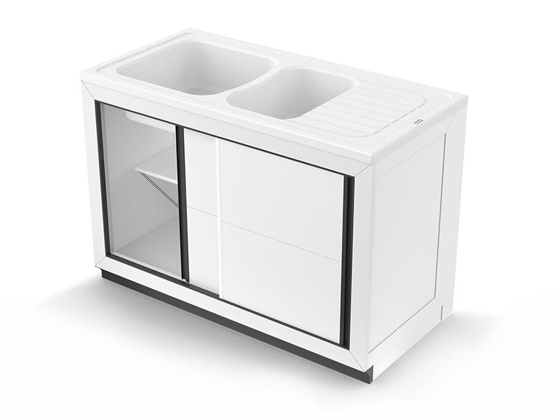 Concept meuble + évier NORMANDIE 120 composite - Batiweb