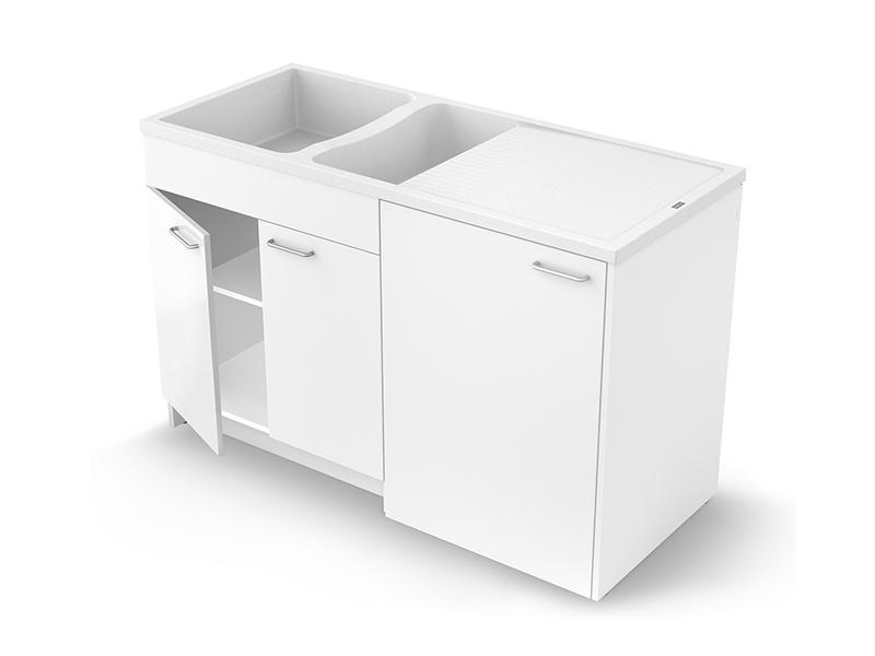Concept meuble + évier GIGA 140 mélaminé - version portes - Batiweb