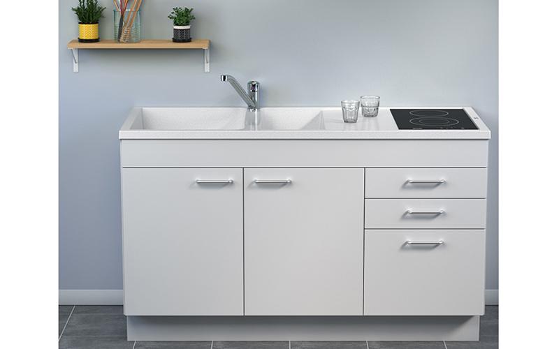 Concept meuble-évier Giga 140 mélaminé - Tiroirs