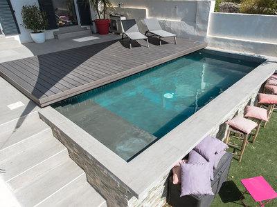 TERRASSE MOBILE POUR PISCINE (terrasse de piscine coulissante, réglable) Batiweb