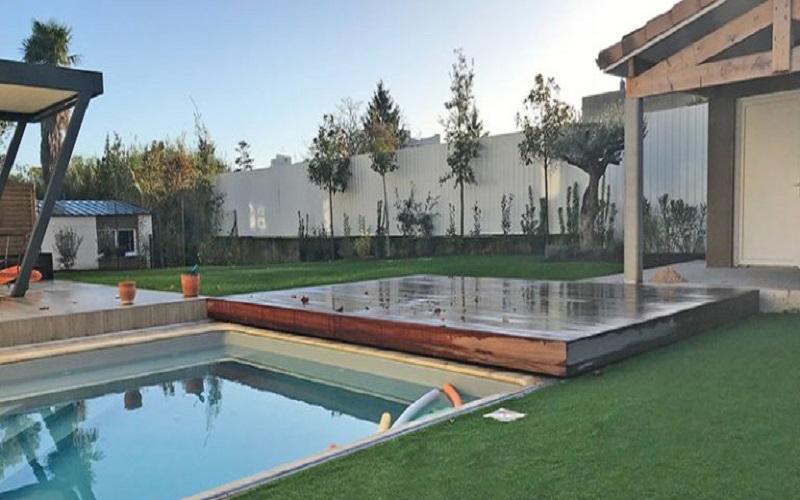 TERRASSE MOBILE POUR PISCINE (terrasse de piscine coulissante, réglable) - Batiweb