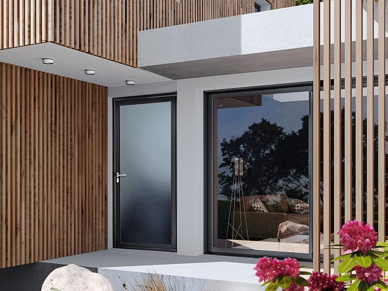 Porte d'entrée aluminium vitrées Tempo V - Batiweb