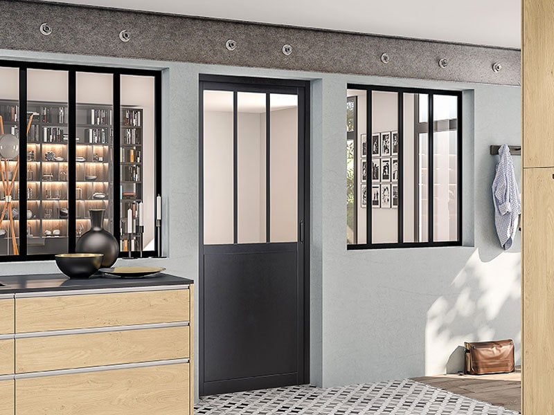 Porte int rieure vitral design effet verri re - Porte verriere interieure ...