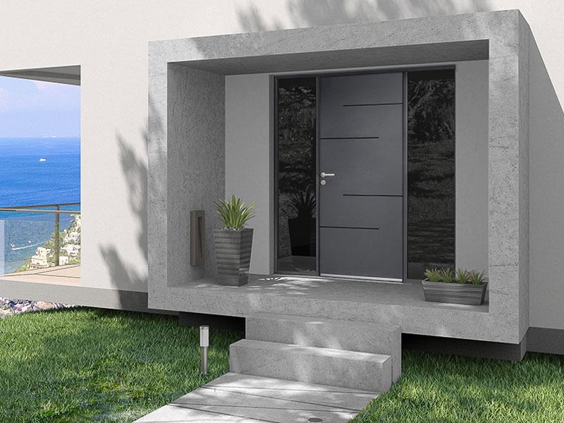 Porte d'entrée aluminium Tempo i - Batiweb
