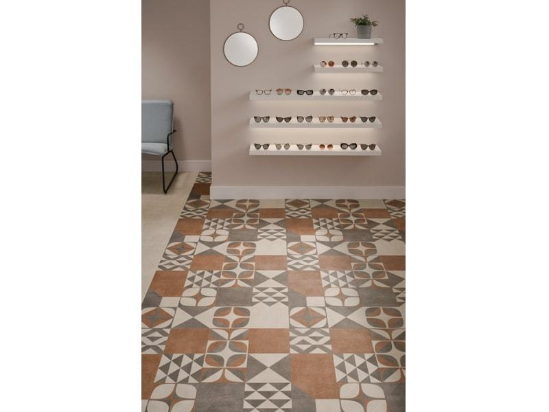Sols décoratifs PVC façon carreaux de ciment et décors