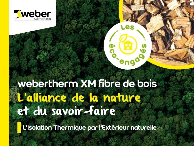Nouveau système ITE biosourcé Weber pour support maçonné et construction bois : webertherm XM fibre de bois - Batiweb
