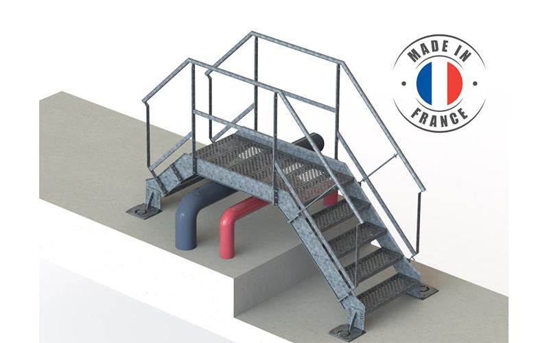 Escalier et Saut de Loup acier - Batiweb