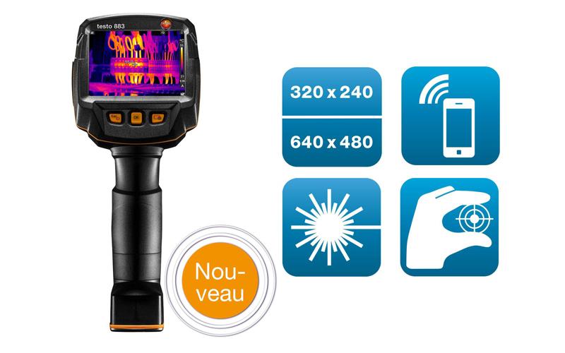 TESTO 883 : caméra thermique certifiée CNPP (320 x 240 pixels, mise au point manuelle, App, laser) - Batiweb