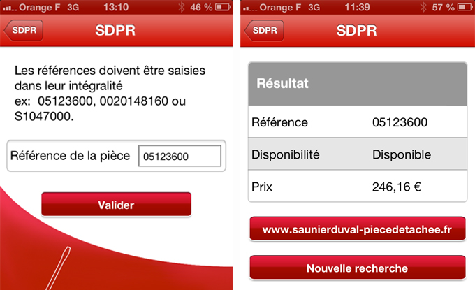 «SDPR» : l'application mobile Pièces de Rechange Saunier Duval