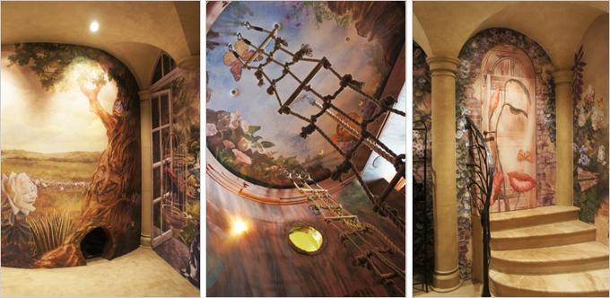 Du sol au plafond, le revêtement CLIPSO raconte le monde magique d'Alice au pays des merveilles dans un espace de jeux pour enfants. - Batiweb