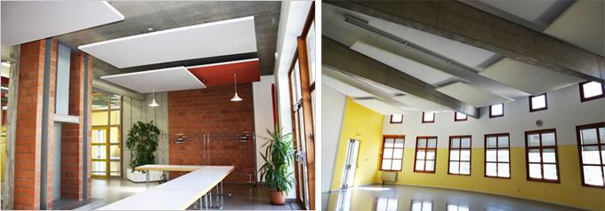 Les panneaux suspendus CLIPSO assurent un confort acoustique et visuel au sein des locaux de la Maison des sports de Huningue. - Batiweb