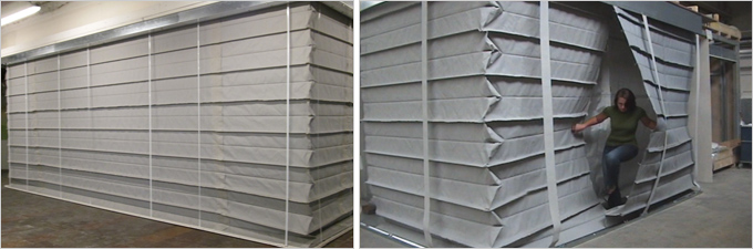 Fibershield-S / SW «Trémie protect»  de compartimentage franchissable en accordéon  avec irrigation  - Batiweb
