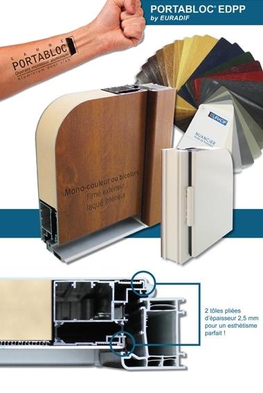 EURADIF LANCE PORTABLOC EDPP , le 1er ouvrant monobloc en aluminium filmé pour portes PVC filmées