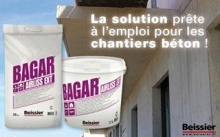 BAGAR AIRLISS EXT: le nouvel enduit semi-allégé de dégrossissage en pâte à projeter parfaitement adapté pour l'enduisage des supports béton