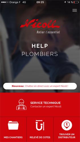 Help plombiers, l'application Nicoll pour les plombiers connectés