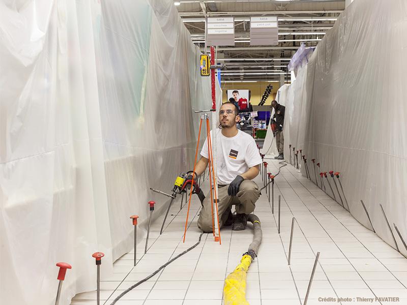 11 000m² de dallage stabilisé dans un centre commercial à Angers
