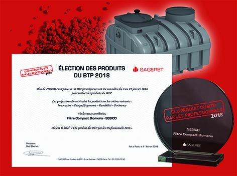 Le filtre compact Bioméris récompensé par le label des produits du bâtiment 2018