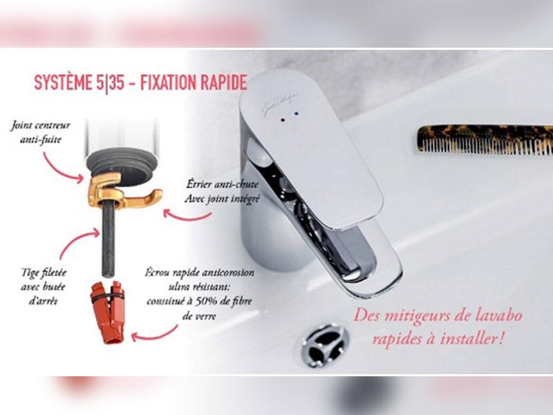 Le système breveté 5|35 : installation rapide du mitigeur lavabo en 35 secondes. - Batiweb
