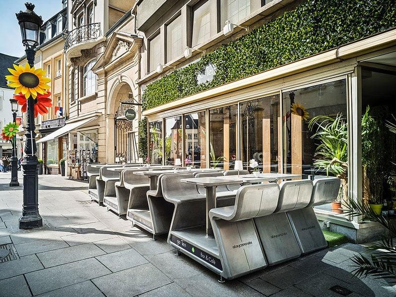 Design urbain avec du mobilier en béton