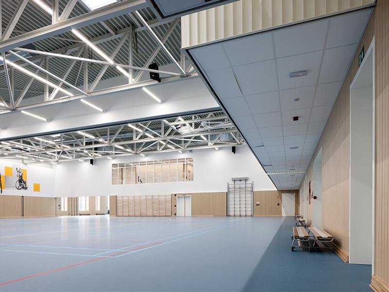 Rénovation acoustique du Gymnase école Artevelde HoGent avec les  panneaux acoustiques Type M L Line de Print Acoustics - Batiweb