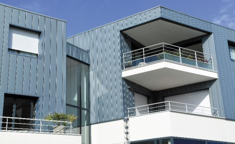 Logements collectifs, Larmor-Plage (56) - PIGMENTO bleu cendré - VMZINC, architecte Michel Quemener