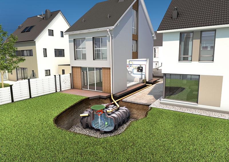 Kit complet pour la récupération et l'utilisation de l'eau de pluie (alimentation des toilettes, du lave‐linge, arrosage, nettoyage…)