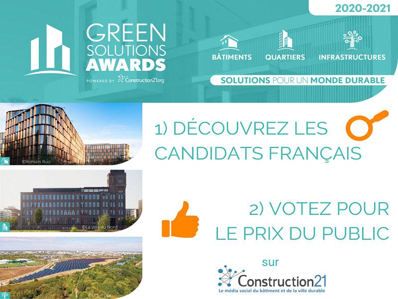 Découvrez les 100 projets français candidats aux Green Solutions Awards 2020-21 - Batiweb