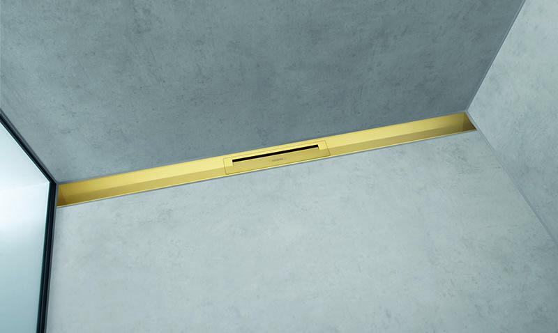 Caniveau de douche RainDrain Flex hansgrohe - Aspect doré poli