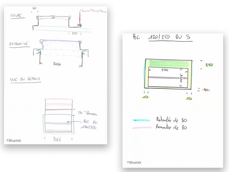Schéma de principe assemblage voûte/lanterneau et cotes fabrication spéciale Bluetek